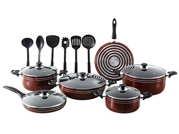 Inhabitr-Seaman 17-Piece Cookware Set