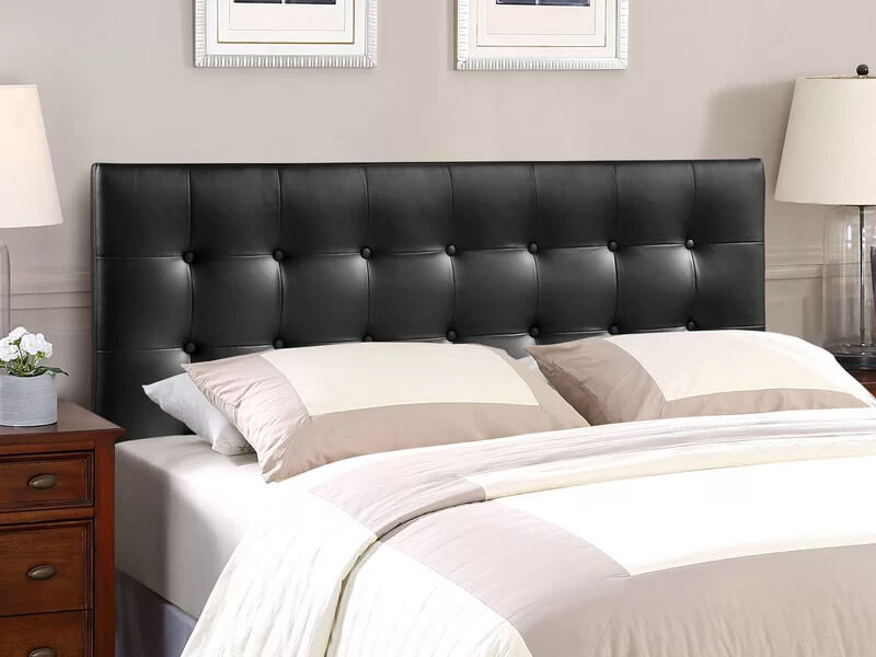 Queen Black Cornelia Upholstered Panel Headboard 3