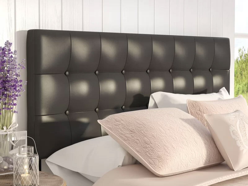 Queen Black Cornelia Upholstered Panel Headboard 4