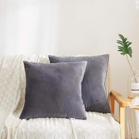 Grey Velvet Throw Pillows [Set of 2]