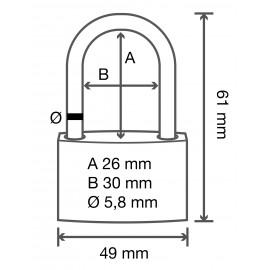 Sárgaréz függő lakat, 49 mm, Basetech 2. kép