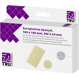 TRU COMPONENTS Euro panel Epoxi (H x Sz) 160 mm x 100 mm 35 µm Raszterméret 2.54 mm Tartalom 4 db