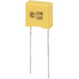 MKS fóliakondenzátor, radiális, álló 0,022 µF 630 V/DC 5 % RM 10 mm 13 x 6 x 12 mm TRU COMPONENTS