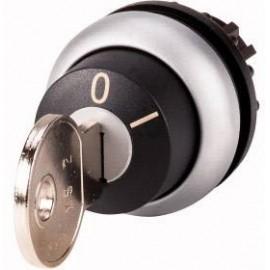 Kulcsos gomb Műanyag előlapi gyűrű Kulcs Fekete Eaton M22-WRS-MS2-A1 1 db
