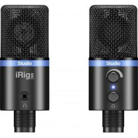 IK Multimedia IRIG MIC STUDIO BLACK USB-s stúdió mikrofon Vezetékes Csíptetővel, Talp, Fém ház