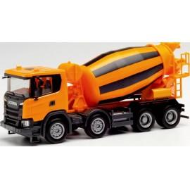 Herpa 312424 H0 Scania CG 17 4 tengelyes betonkeverő teherautó, városi narancs