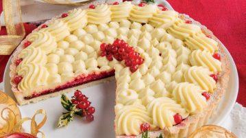 Crostata di Natale bianca e rossa al mascarpone e alchermes