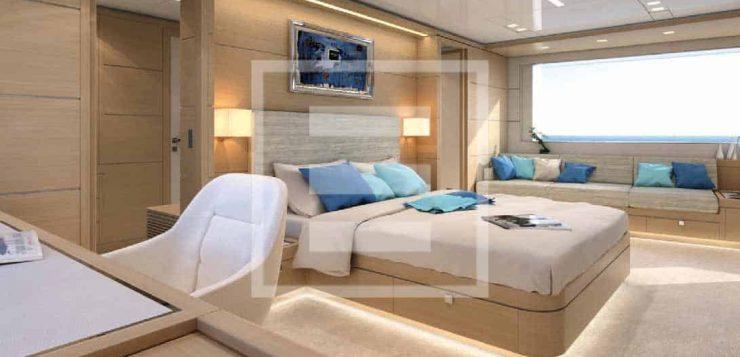 La suite armatoriale di 26 mq a prua del main deck dello yacht Nauta Air