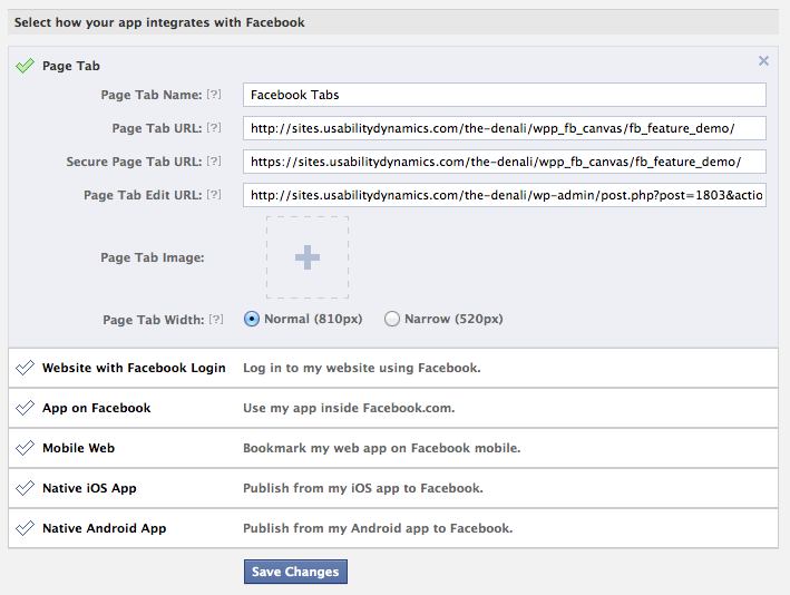 Facebook App Integration