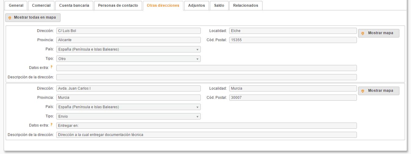 Direcciones de proveedores