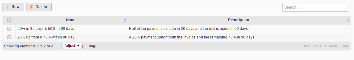create payment terms