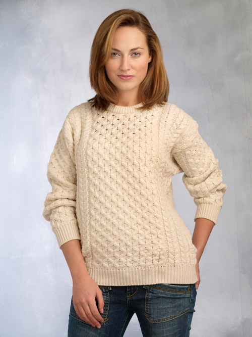 Aran Crafts Fisherman Crew Neck Sweater - Irish Design Center
