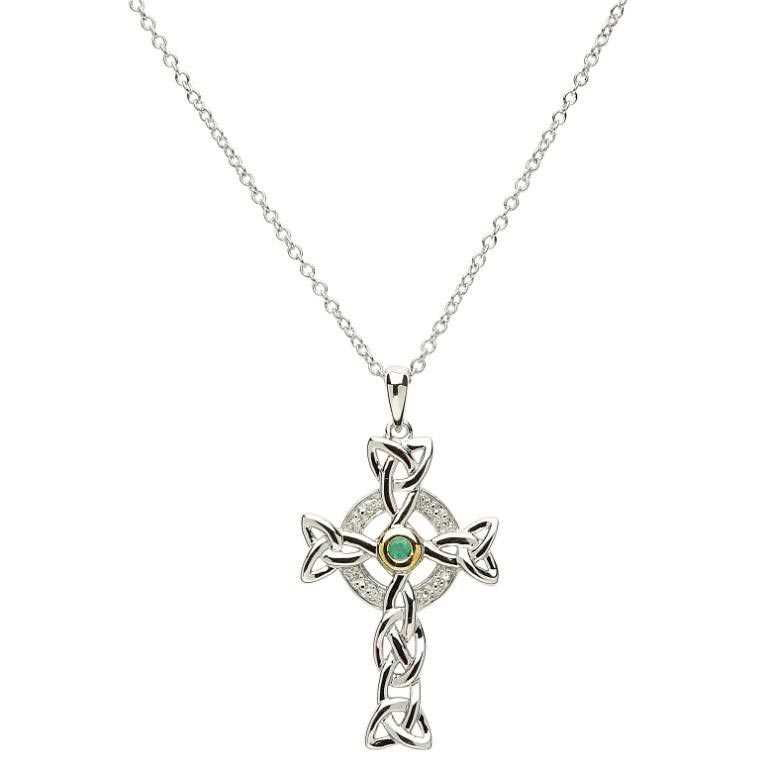 Celtic trinity diamond emerald silver cross necklace tara gift celtic trinity diamond emerald silver cross necklace aloadofball Gallery