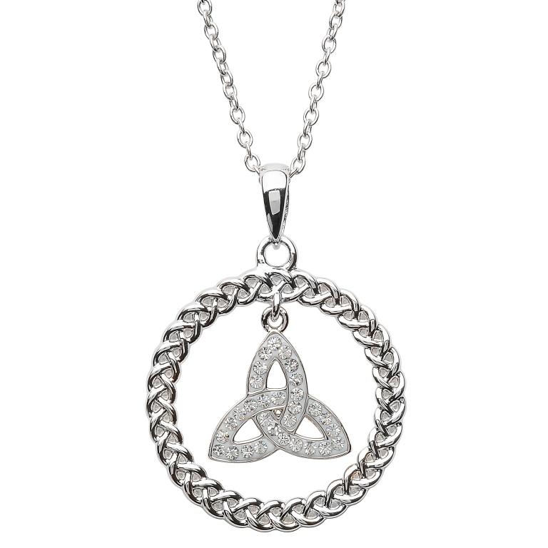 Celtic Trinity Knot Necklace Encrusted With Swarovski Crystal Tara