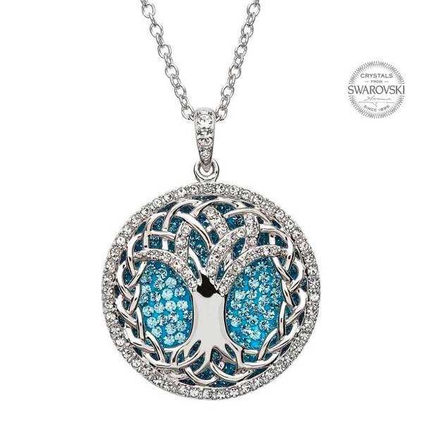 Swarovski tree of life aquamarine pendant bridgets irish cottage swarovski tree of life aquamarine pendant aloadofball Image collections