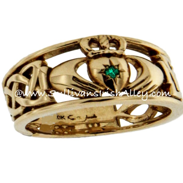 Keith Jack Emerald Set Heart Celtic Claddagh Wedding Band Ring In 10K GOLD