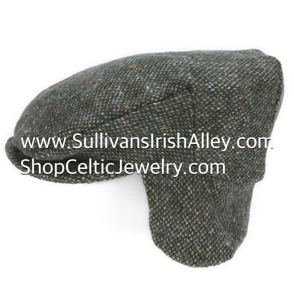 Hanna Hats Of Donegal Irish Tweed Ear Flap Cap Made in a Moss Green Salt and c129856d33c1