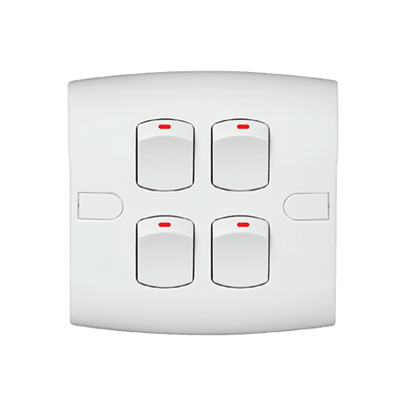 10 A Four Gang One Way Safe Series White