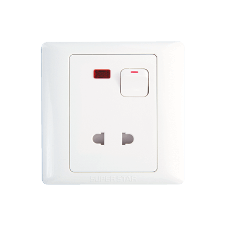 10 A 2-Pin Switched Socket With Neon Lotus Series White