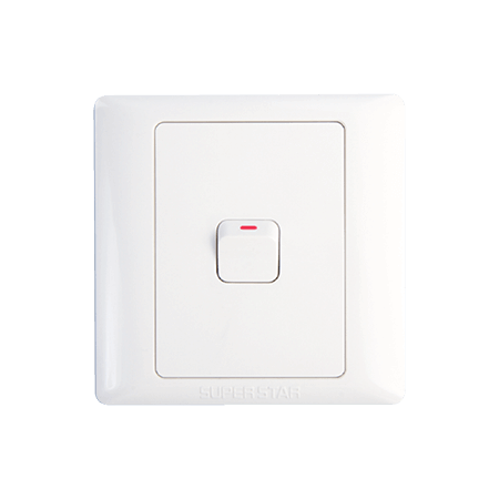 10 A One Gang 1 Way Switch Lotus Series White