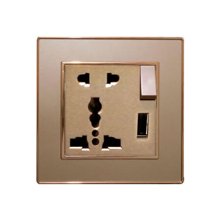 Ericson 13A Multi 5 Pin Socket & Switch with USB
