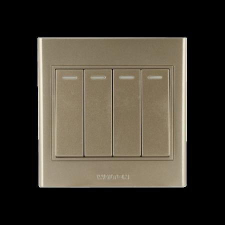 Walton 10A 4 Gang Switch (2 Way) Metallic Gold
