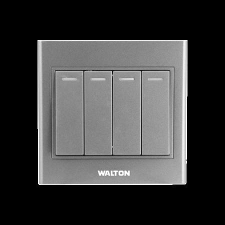 Walton 10A 4 Gang Switch (1 Way) Metallic Silver