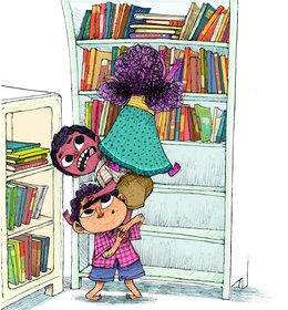 Boys Helping Girl To Get On The Bookshelf