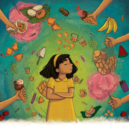 Girl saying no to junk food - StoryWeaver