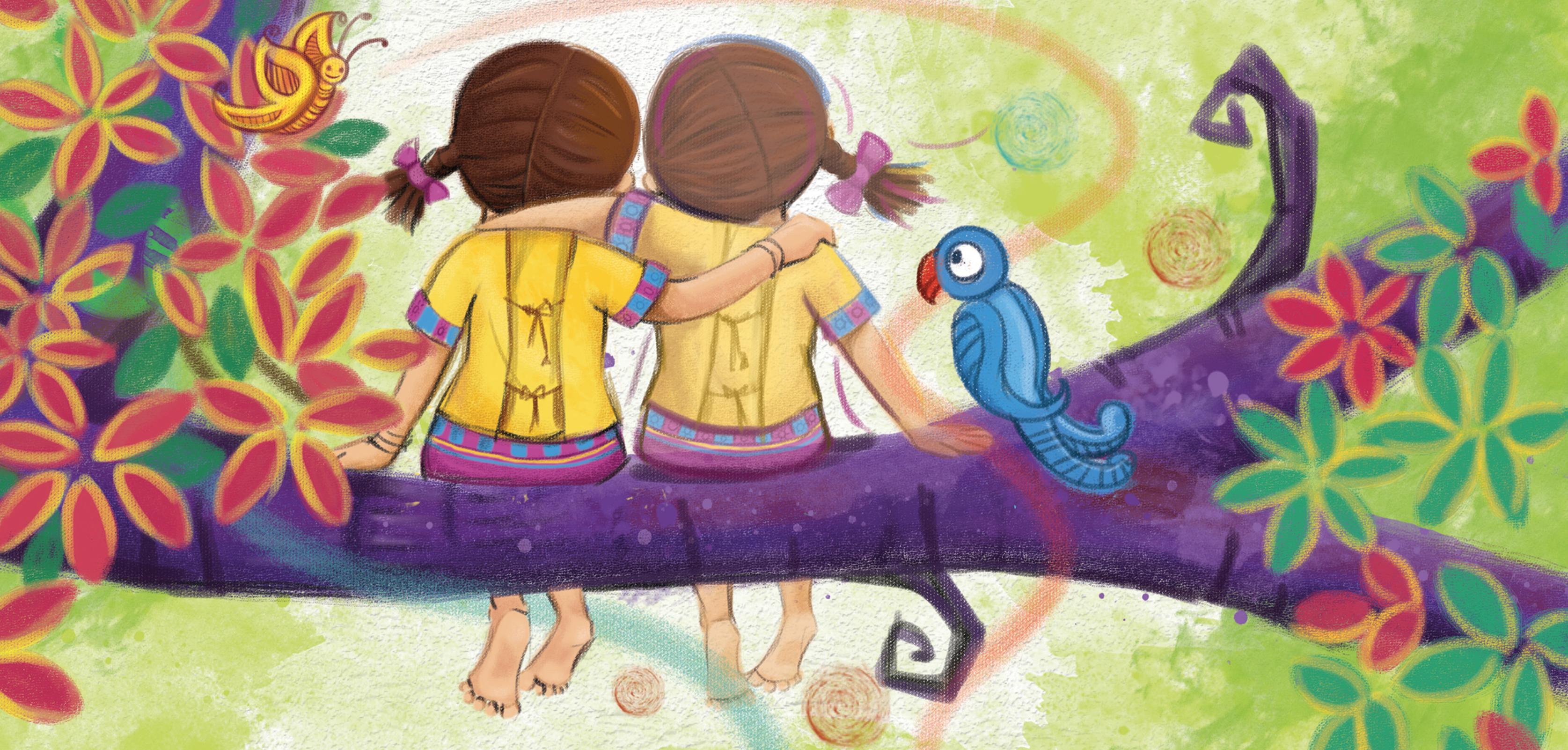 Resultado de imagen de two girls and tree painting