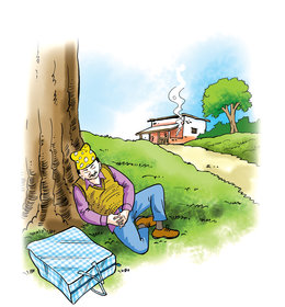 Man Asleep Under Tree Storyweaver I'd be surrpised if it could yield one pound of fruit tree cartoon 19 of 26. man asleep under tree storyweaver