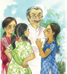 Image result for 3 girls and oldman