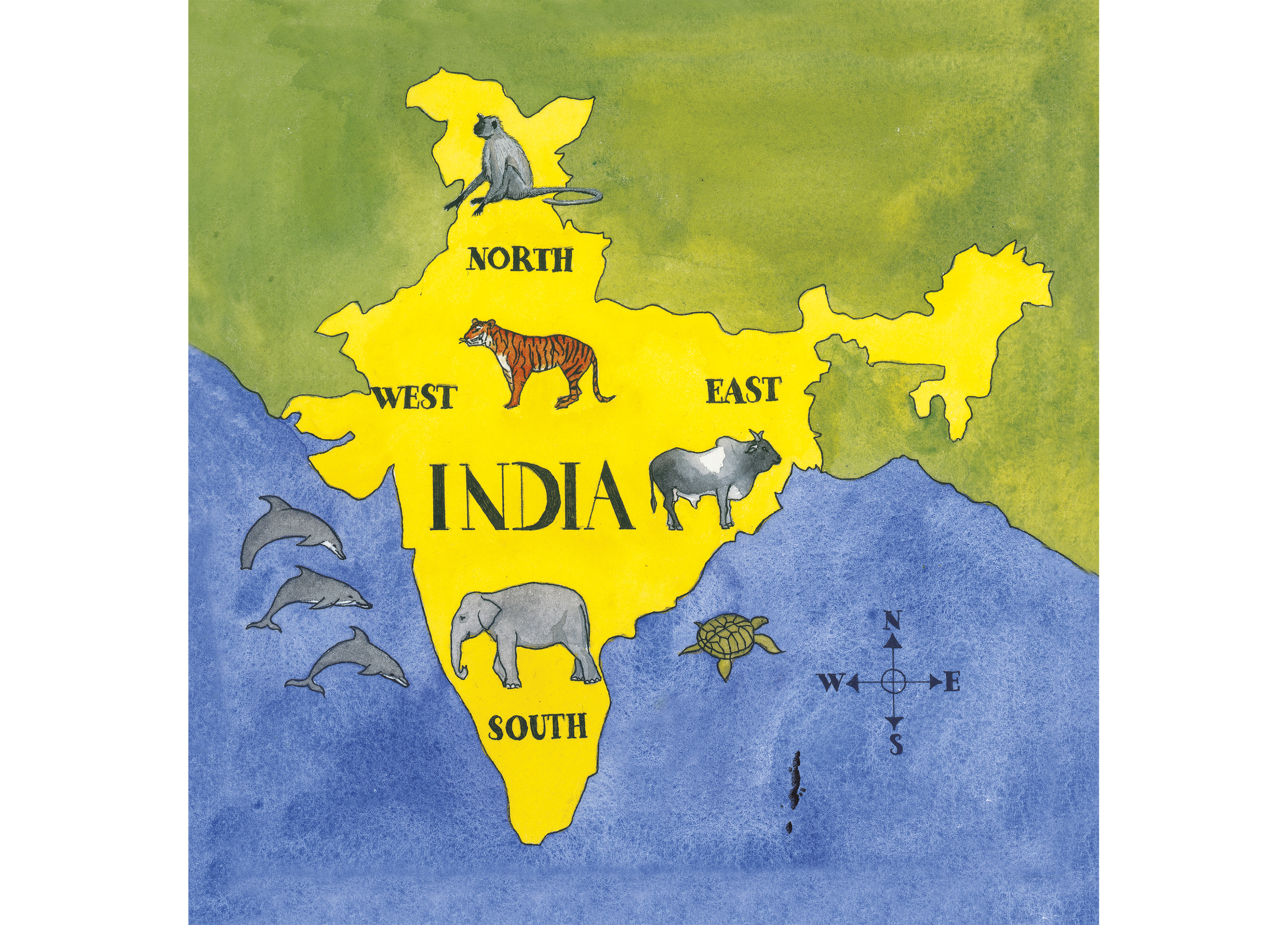 A map of India marking the four directions and animals specific to Direction In Map on