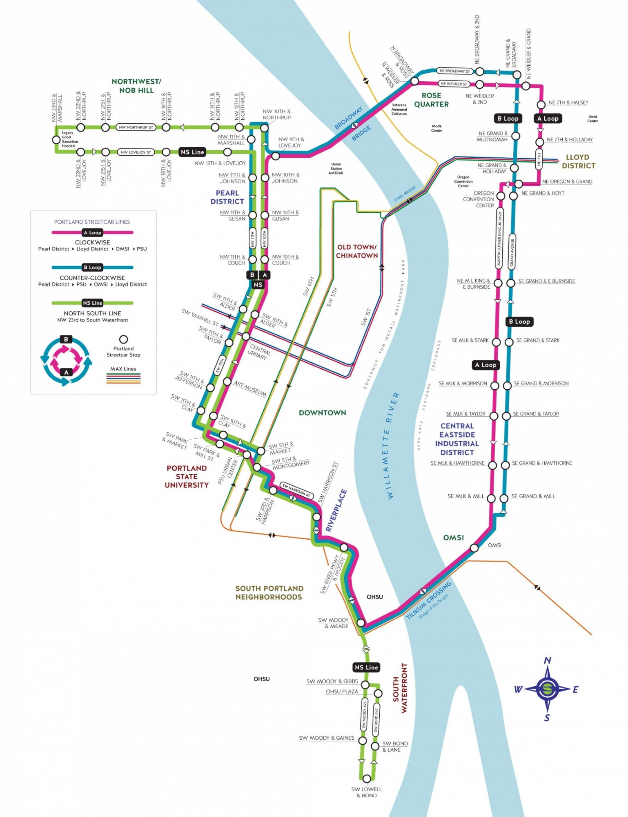 Metro Map Portland Oregon.Maps Schedules Portland Streetcar