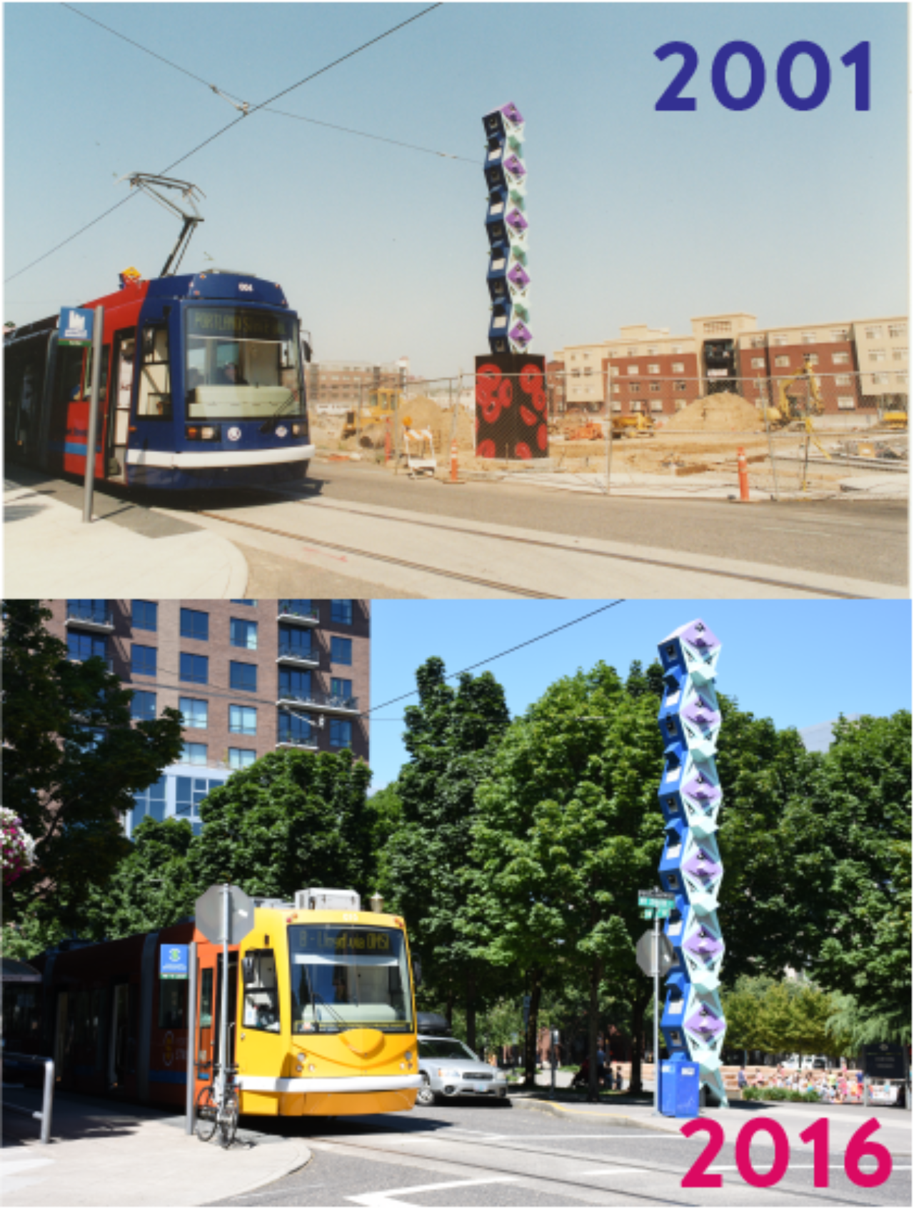 Then and Now: 2001 and 2016 Streetcar at Jamison Park