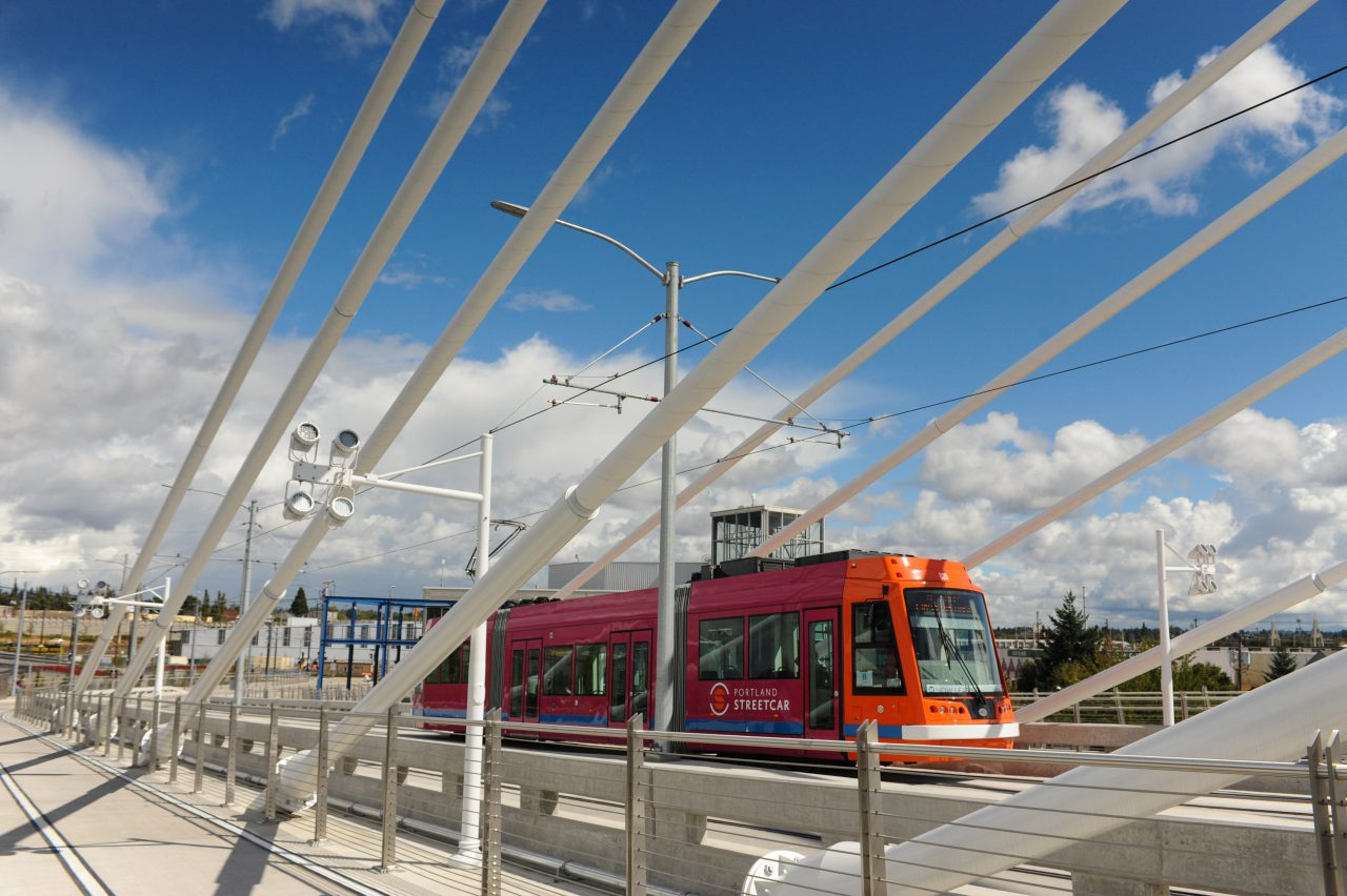 Streetcar starting to cross the Tilikum Crossing