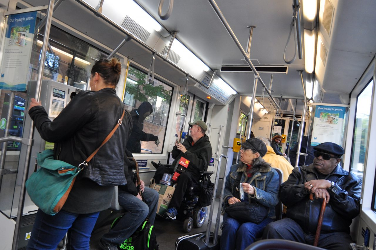 Riders on board Portland Streetcar