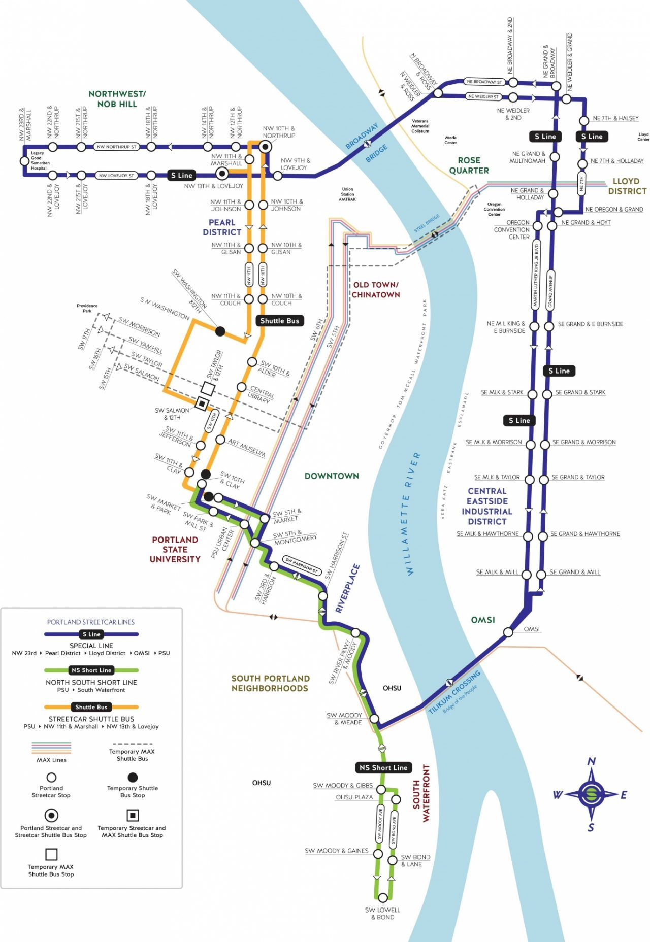 Morrison Yamhill Max Improvements Streetcar Service Map