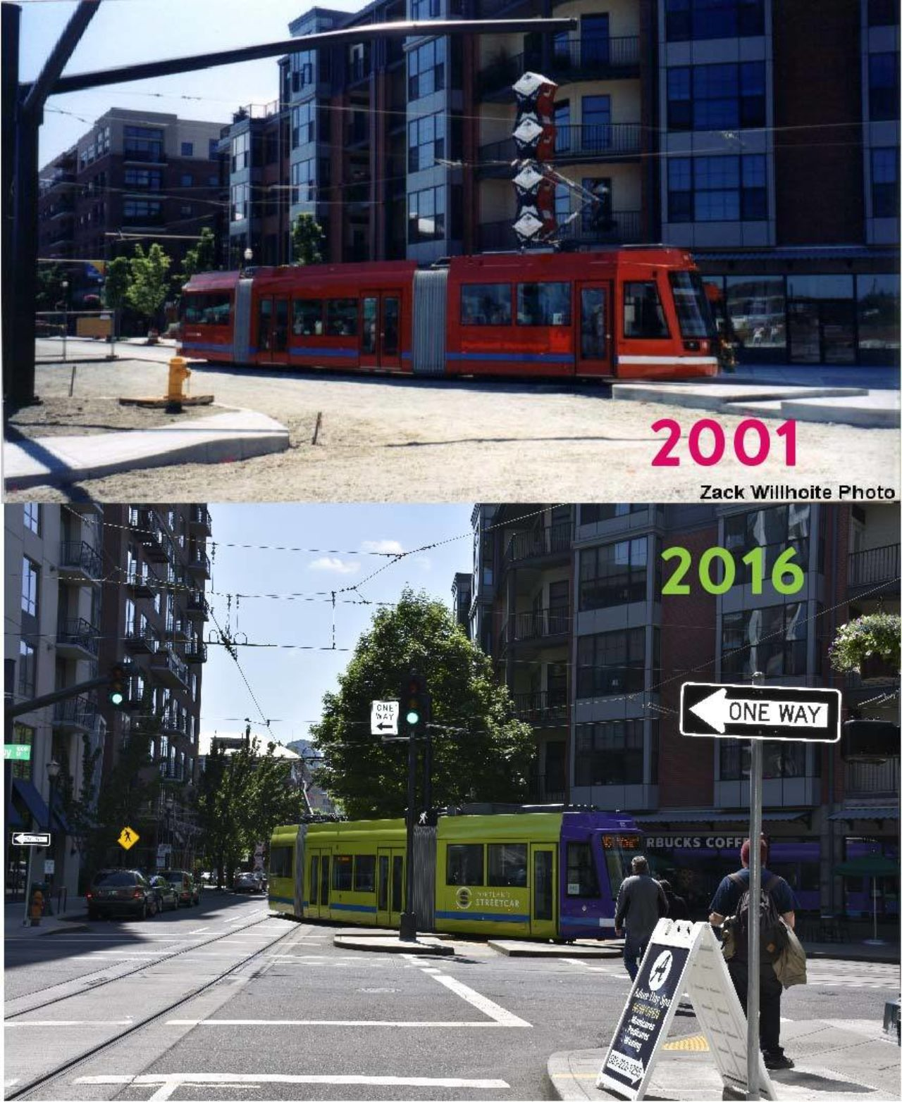 Photos from 2001 and 2016 of Streetcar turning from Lovejoy onto NW 11th Ave