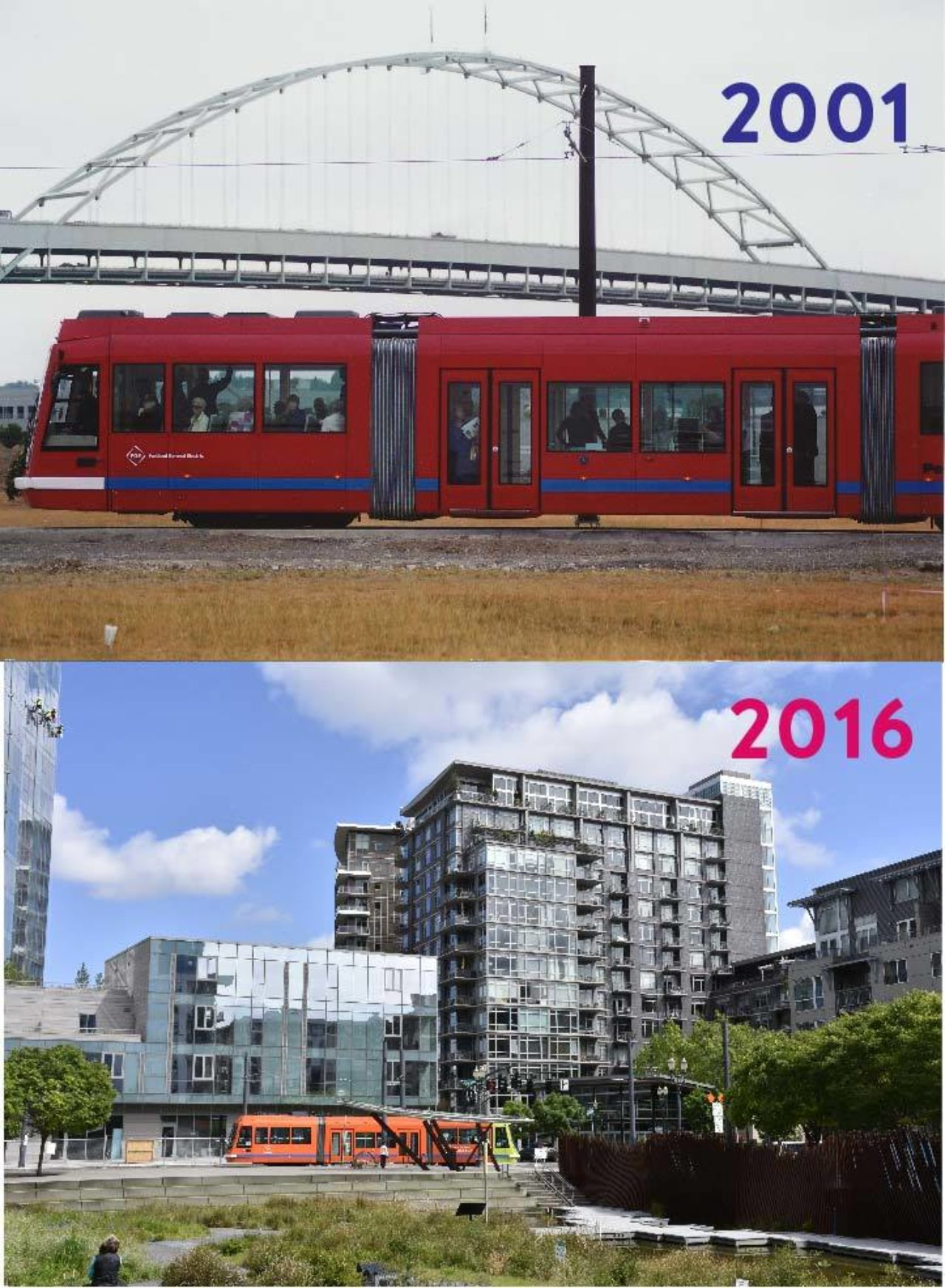 Then and Now: Streetcar on NW Northrup at 10th, 2001 and 2016