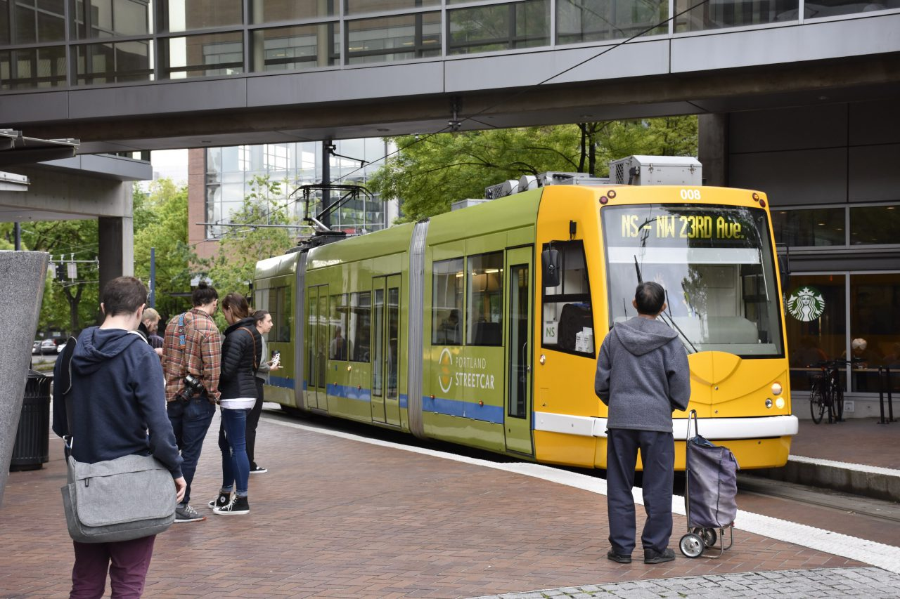 Streetcar arriving at PSU Urban Plaza