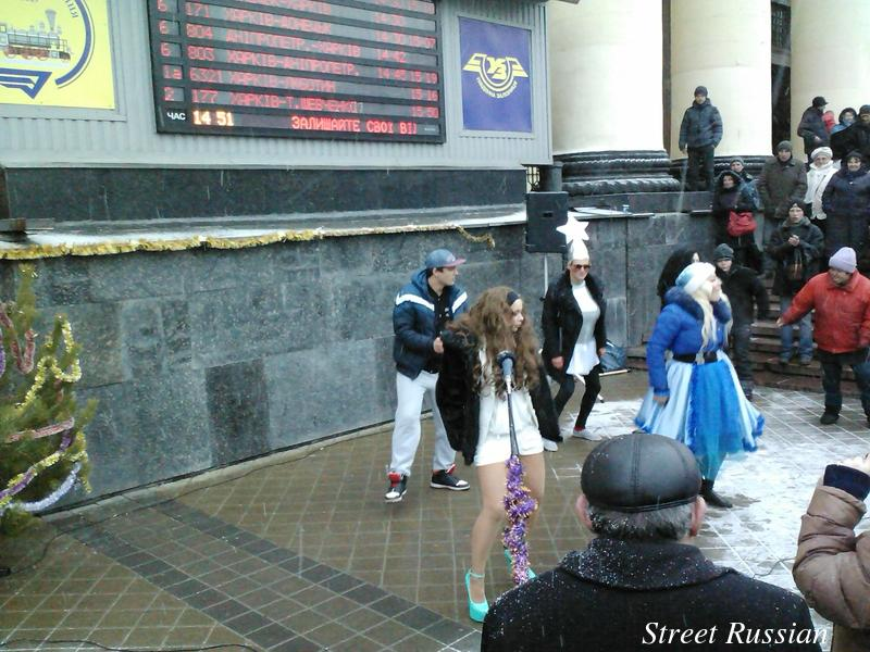 Verka Serduchka lookalike in Kharkiv, Ukraine (dancer with the star hat, sunglasses, and large chest).