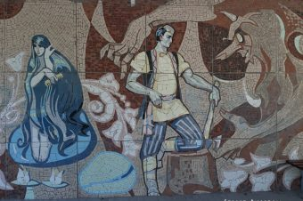 Soviet mosaics of Kazan: bus stop edition
