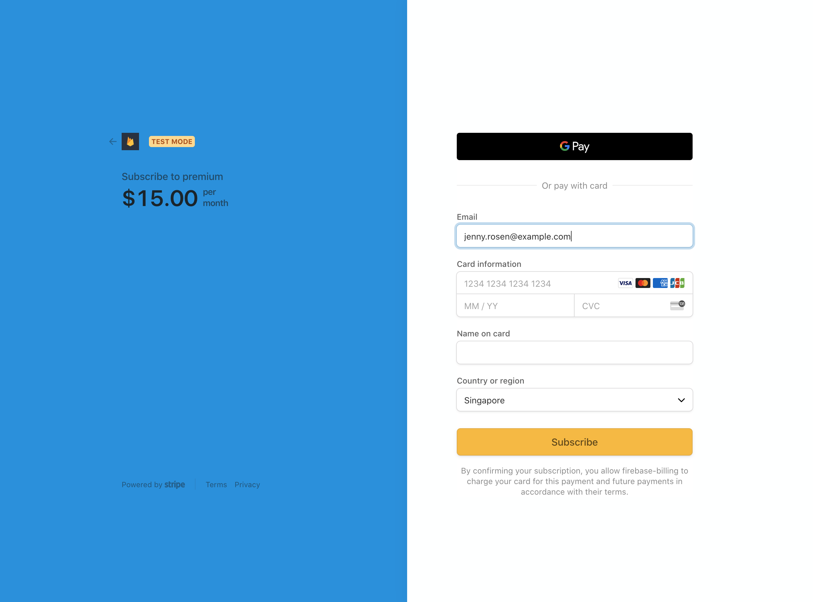 Stripe Checkout Page