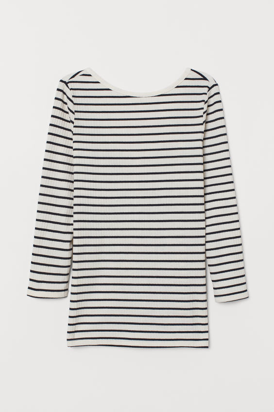 H&M Fitted Top - White/dark blue striped