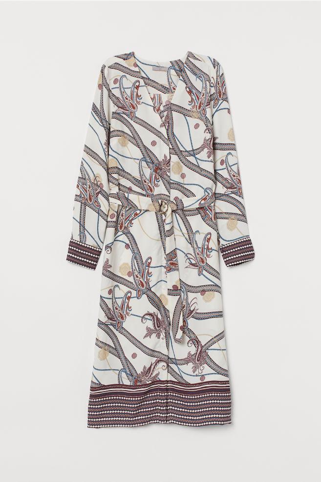 H&M Dress with Belt - Cream/paisley