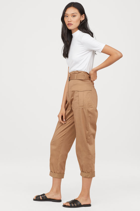 OOTD - How to Style your H&M-Utility Pants with Belt - Dark beige