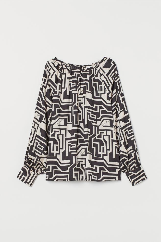 H&M Patterned Satin Blouse - Light beige/black patterned