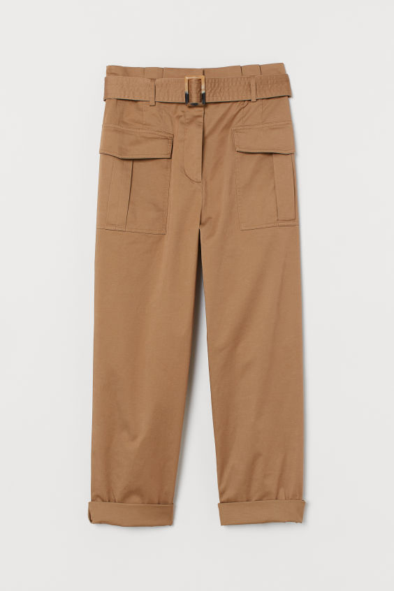 H&M Utility Pants with Belt - Dark beige