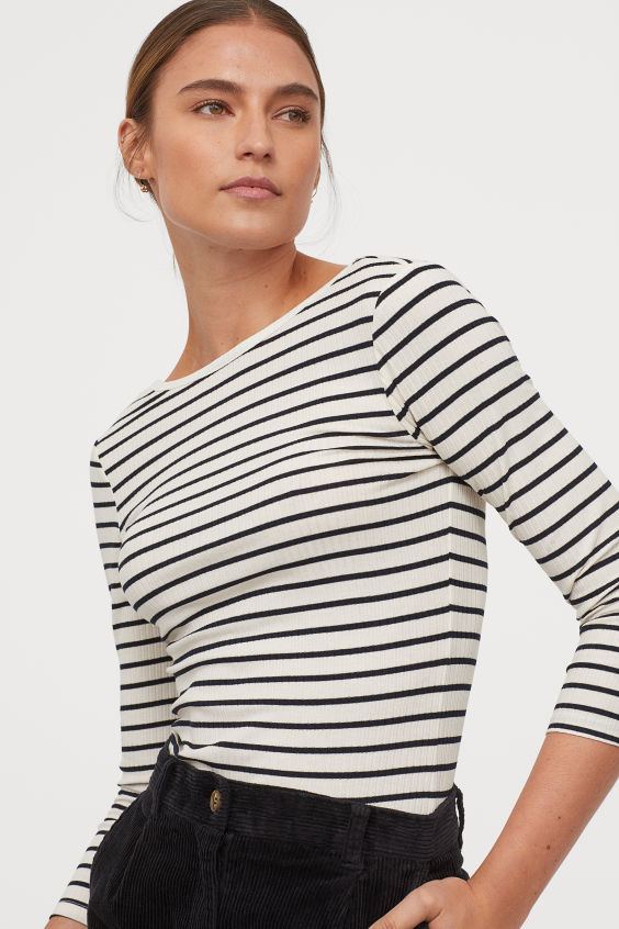 OOTD - How to Style your H&M-Fitted Top - White/dark blue striped